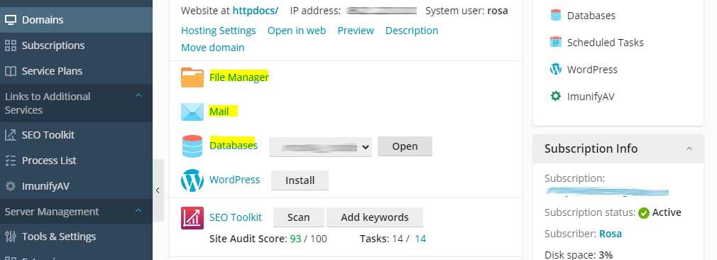 Añadir ficheros, bases de datos y emails a Plesk